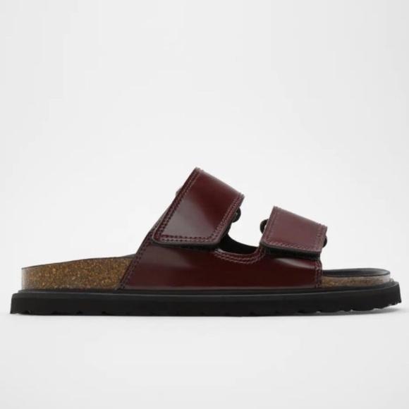 Zara Double Strap Velcro Burgundy Sandals Sz 40 9